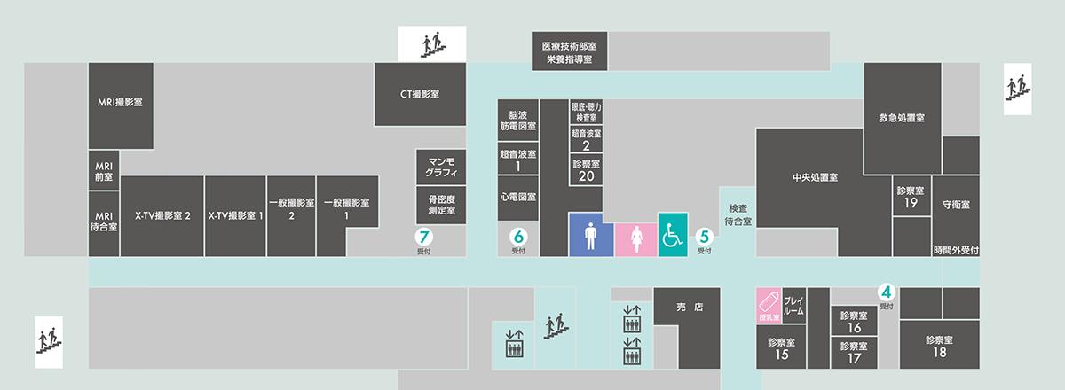 1階(検査室/夜間・救急外来)案内図